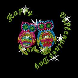 Rhinestone Happy Owl Couple Iron ons