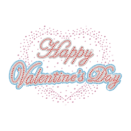 Bling Happy Valentine\'s Day Iron on Rhinestone Design