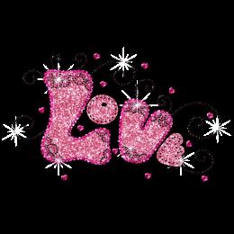 Sweet Pink LOVE Glitter Hot fix Motif Design