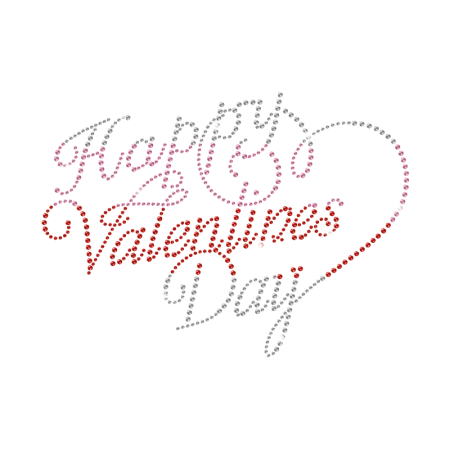 Acrylic Rhinestone Happy Valentine's Day Iron ons