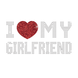 Rhinestone I Love My Girlfriend with Bright Red Heart Iron ons