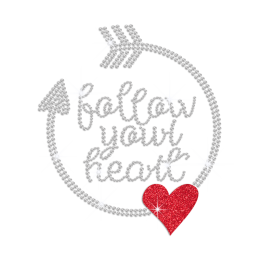 Follow Your Heart Iron on Rhinestone Transfer Decal