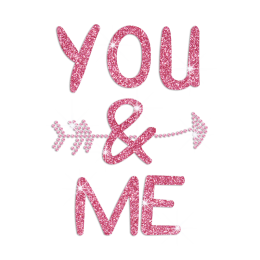 You And Me Iron on Holofoil Rhinestone Transfer Motif