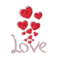 Glittering Heart And Bling Love Iron on Rhinestone Transfer Decal