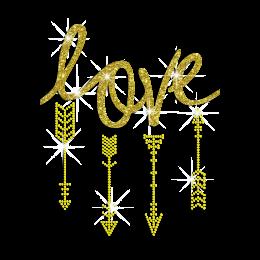 Gold Love Arrow of Cupid Iron on Glitter Rhinestone Transfer Motif