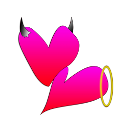 Cute Pink Love of Demon and Angel Heat Transfer