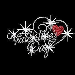 Sparkling Valentine's Day Rhinestone Motif for Tshirt