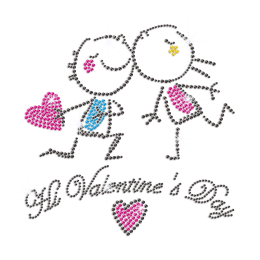 Cute Lovers Holding The Shiny Heart Neon Stud Design