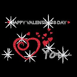Custom Glitter Valentine Heart Rhinestone Pattern