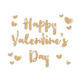 Golden Happy Valentine's Glitter Transfer