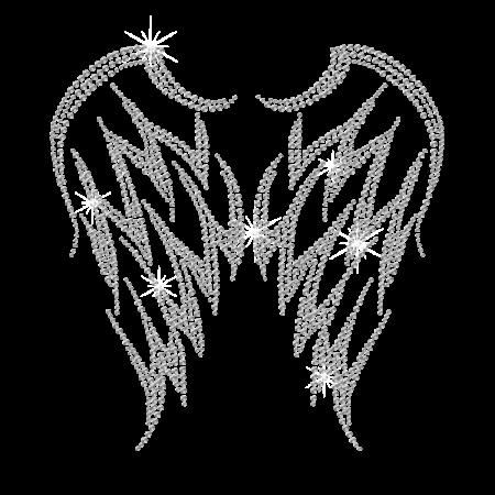Rhinestone Crystal Wings Hot-fix Motif