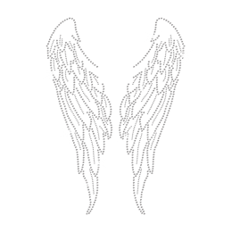 Crystal Angel\'s Wings Iron on Rhinestone Motif for t shirt