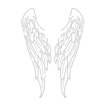Crystal Angel's Wings Iron on Rhinestone Motif for t shirt