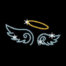 Blue Angel Wings Iron on Rhinestone Motif