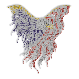Best Sparkle American Flag Pattern Eagle Iron on Transfer Design