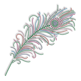 Best Custom Sparkling Rhinestone Beautiful Peacock Feather Hotfix Transfer Motif