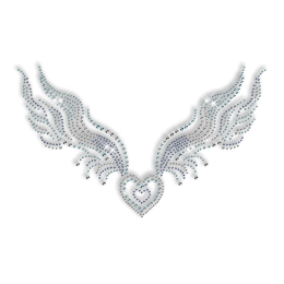 Custom Sparkling Heart with Wings in Crystal and Blue Diamante Iron on Transfer Pattern for Clothes