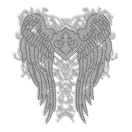 Sparkling Wings with Fleur De Lis Pattern in Crystal and Black Rhinestone Iron on Transfer Design