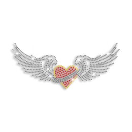 Shiny Wings with Heart Iron on Rhinestone Transfer