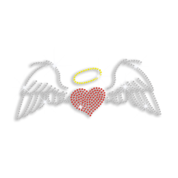 Cute Angel's Wings & Heart Iron-on Rhinestone Transfer