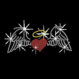 Cute Angel\'s Wings & Heart Iron-on Rhinestone Transfer