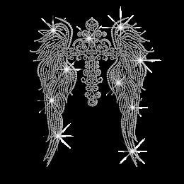Crystal Cross & Wings Iron on Rhinestone Transfer