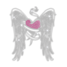 Beautiful Wings with Pink Heart Iron on Rhinestone Transfer