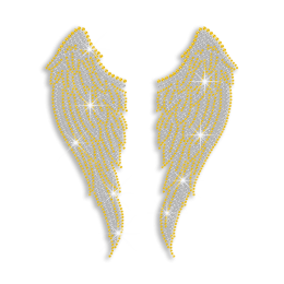 Bling Gold Wings Iron-on Rhinestone Transfer