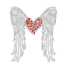 Lovely Heart & Wings Iron on Rhinestud Rhinestone Transfer