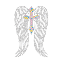 Pretty Cross with Wings Iron on Rhinestone Transfer