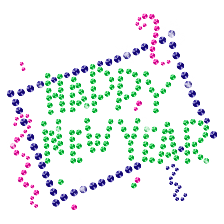 Crystal Bling Bling Happy New Year Iron on Motif