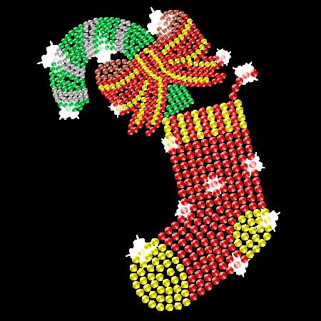 Christmas Sock Iron on Bling Transfer Design