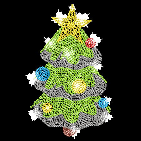 Christmas Pine Tree Flat Back Rhinestone Iron on Transfer