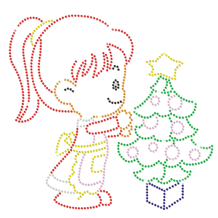 A Little Girl Decorating Christmas Tree Rhinestone Iron ons