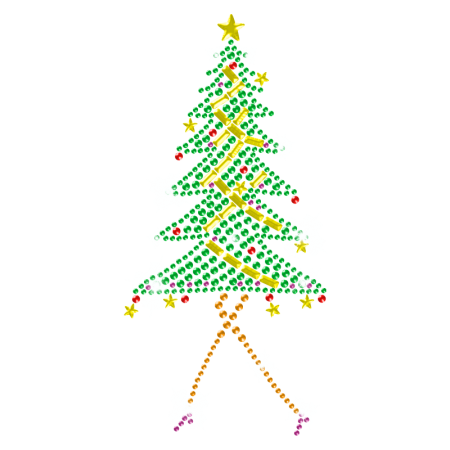 Sparkling Iron on Stone Christmas Tree Transfer for Kids