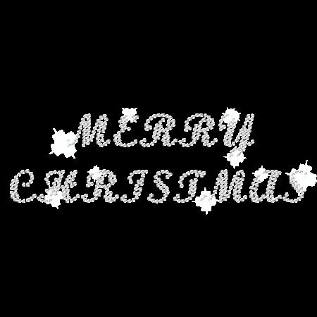Clear Crystal Iron on Merry Christmas Rhinestone Design