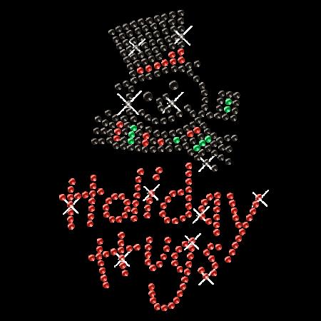 Holiday Hugs Iron on Rhinestone Snowman Motif Design