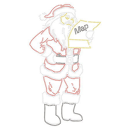 Bling Lost Santa Iron on Rhinestone Pattern