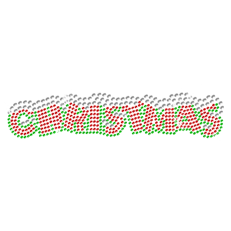Hot fix Christmas Lettering Rhinestone Bling Transfer