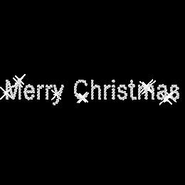 Iron on Clear Stone Merry Christmas Rhinestone Pattern