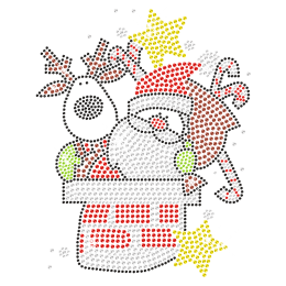 Rhinestone Hotfix Crystal Santa Transfer for Clothing