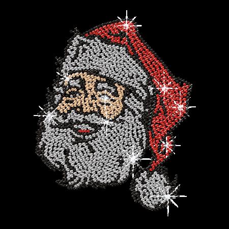 Hotfix Rhinestone Santa Face Bling Design