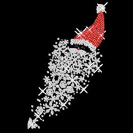 Sparkling Santa with Snow Flake Iron on Rhinestone Transfer
