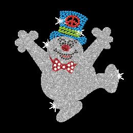 Sparkling Happy Snowman Iron on Bling Design for Children