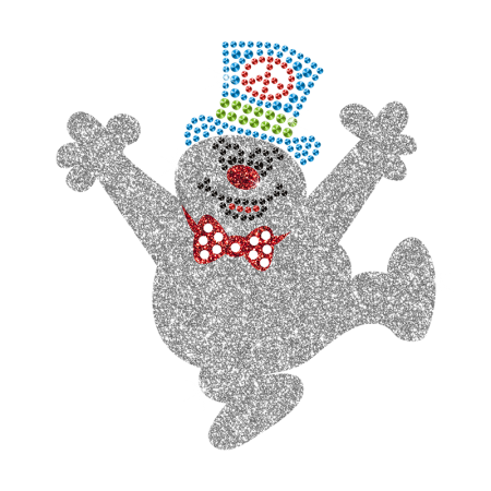 Sparkling Happy Snowman Iron on Bling Design for Children