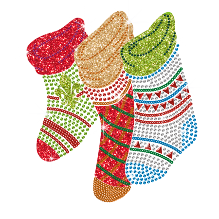 Glitter Bling Bling Christmas Stocking Iron On Transfer