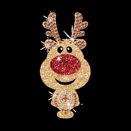 Iron On Glitter Reindeer Transfer for Kids