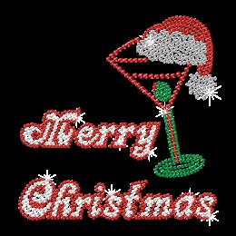Iron on Bling Merry Christmas Rhinestone & Nailhead Transfer
