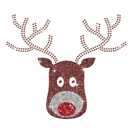 Cute Rudolph Glitter Iron On Transfer