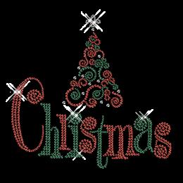 Custom Sparkling Christmas Tree Diamante Iron on Transfer Design for Shirts